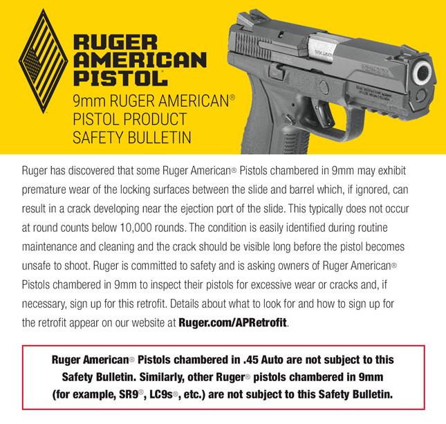 9MM RUGER AMERICAN® PISTOL SAFETY BULLETIN | WeeklyCaller